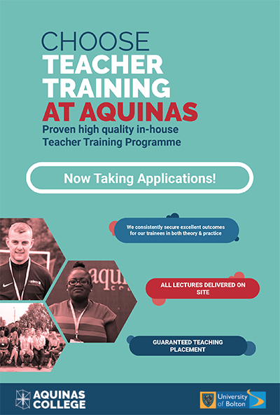 Choose Teacher Training at Aquinas. Now taking applications. All lectures delivered on site, Guaranteed teaching placement.