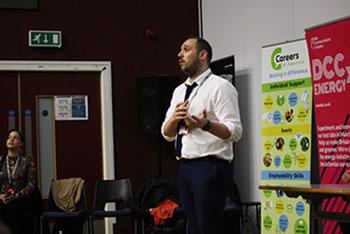 Careers adviser talking